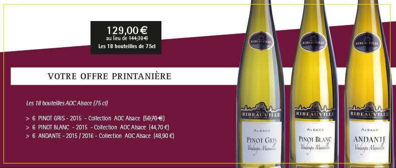 Vins d'Alsace - Promotions - Offre printanière Cave de Ribeauvillé