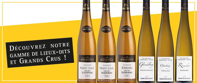 Découvrez notre gamme de Lieux-dits et Grands Crus d'Alsace